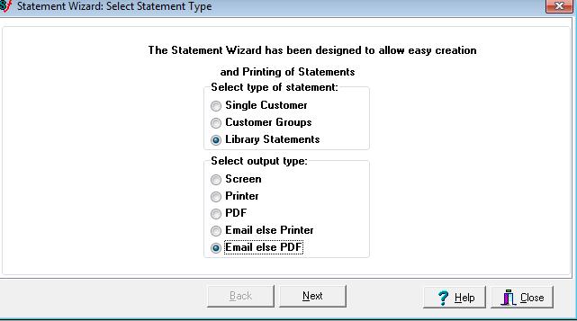 EOP statement output options screen